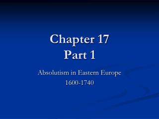 Chapter 17 Part 1