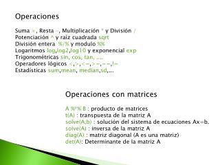 Operaciones Suma  + , Resta  - , Multiplicación  *  y División  /
