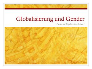 Globalisierung und Gender