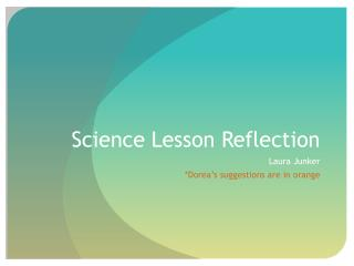 Science Lesson Reflection