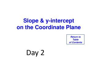 Slope & y-intercept on the Coordinate Plane