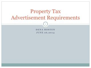 Property Tax  Advertisement Requirements