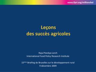 Leçons   des succès agricoles