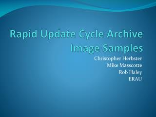 Rapid Update Cycle Archive Image Samples
