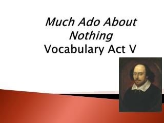 Much Ado About Nothing Vocabulary Act V