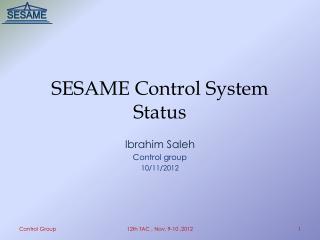 SESAME Control System Status