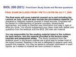 BIOL 200 921: Final Exam Study Guide and Review questions