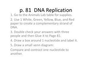 p. 81  DNA Replication