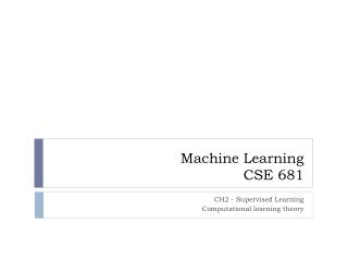 Machine Learning CSE 681