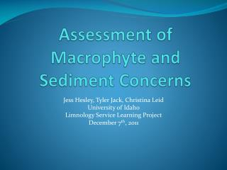 Assessment of  Macrophyte  and Sediment Concerns