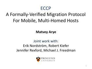 ECCP A  Formally-Verified  Migration Protocol  For  Mobile , Multi -Homed Hosts
