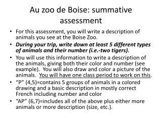 Au zoo de Boise: summative assessment