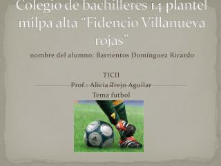 "Colegio de bachilleres 14 plantel milpa alta ""Fidencio Villanueva rojas"""