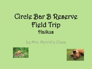 Circle  Bar B Reserve  Field Trip Haikus
