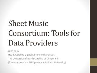 Sheet Music Consortium: Tools for Data Providers