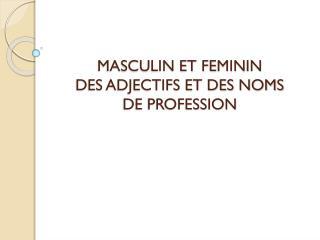 MASCULIN ET FEMININ   DES ADJECTIFS ET DES NOMS  DE PROFESSION