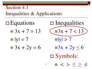 Section 4.1 Inequalities & Applications