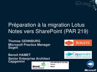Préparation à la migration Lotus Notes vers SharePoint (PAR 219)
