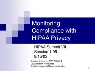 Monitoring Compliance with HIPAA Privacy