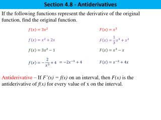 Section 4.8 - Antiderivatives