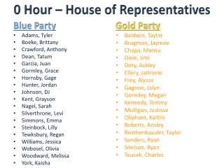 0 Hour – House of Representatives