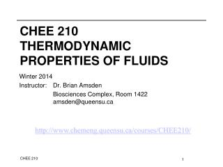 CHEE 210 Thermodynamic properties of fluids
