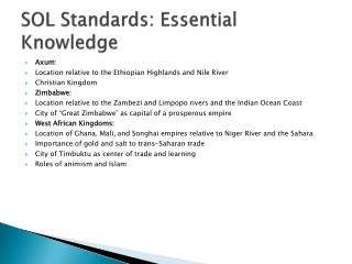 SOL Standards:  E ssential Knowledge