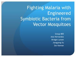 Fighting Malaria with Engineered  Symbiotic Bacteria from Vector Mosquitoes