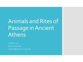 Animals and Rites of Passage in Ancient Athens