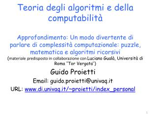 Guido  Proietti Email: guido.proietti@univaq.it URL:  www.di.univaq.it/~proietti/index_personal
