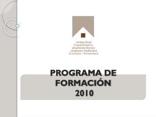 PROGRAMA DE FORMACIÓN    2010