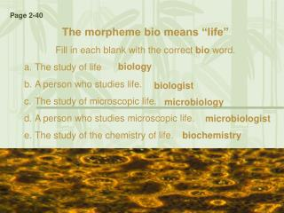 "The morpheme bio means ""life"" Fill in each blank with the correct  bio  word.  The study of life"