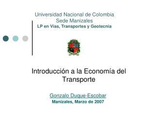 Introducción a la Economía del Transporte