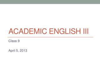 Academic  english  iii
