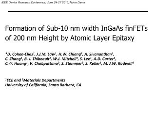 Formation of Sub-10 nm width InGaAs finFETs  of 200 nm Height by Atomic Layer Epitaxy