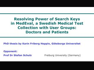 Resolving Power  of Search Keys