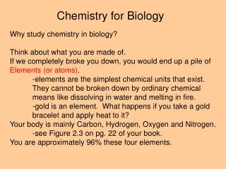 Chemistry for Biology