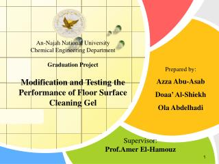 An-Najah National University Chemical Engineering Department Graduation  Project