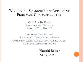 Harold Reiter Kelly Dore