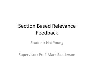 Section Based Relevance Feedback