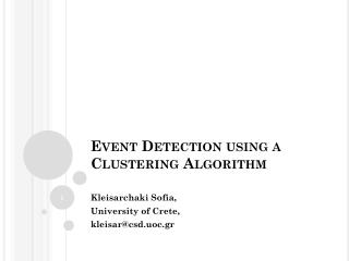 Event Detection using a Clustering Algorithm