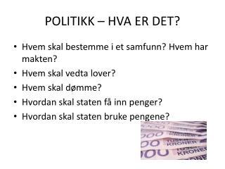 POLITIKK � HVA ER DET?