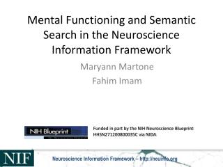 Mental Functioning and Semantic Search in the Neuroscience Information Framework