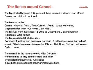 The fire on mount Carmel  :                                             - carmit -