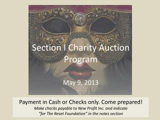 Section I Charity Auction Program