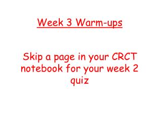 Week 3 Warm-ups
