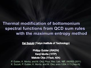 Kei Suzuki  ( Tokyo Institute of Technology ) Philipp  Gubler  ( RIKEN ) Kenji Morita ( YITP )