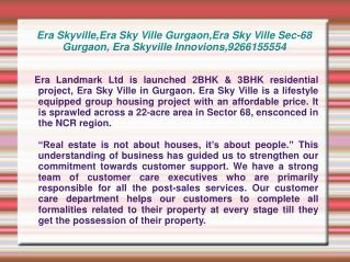 Era Skyville,Era Sky Ville Gurgaon,Era Sky Ville Sec-68 Gurg