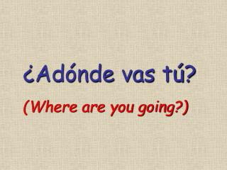 ¿ Adónde  vas  tú ?