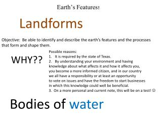 Earth's Features!